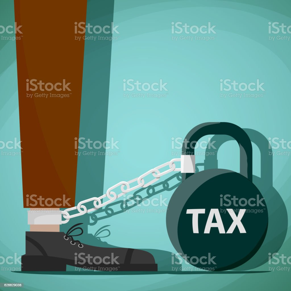 Man chained to kettlebell with the word tax. vector art illustration