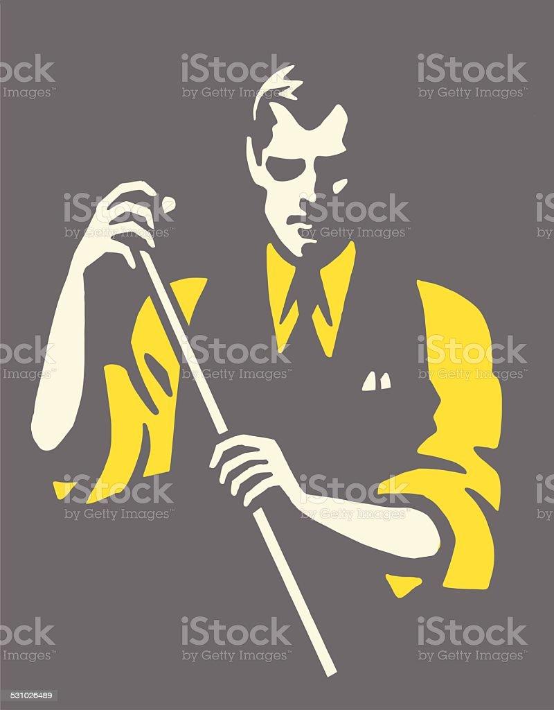 Man Chalking Cue vector art illustration