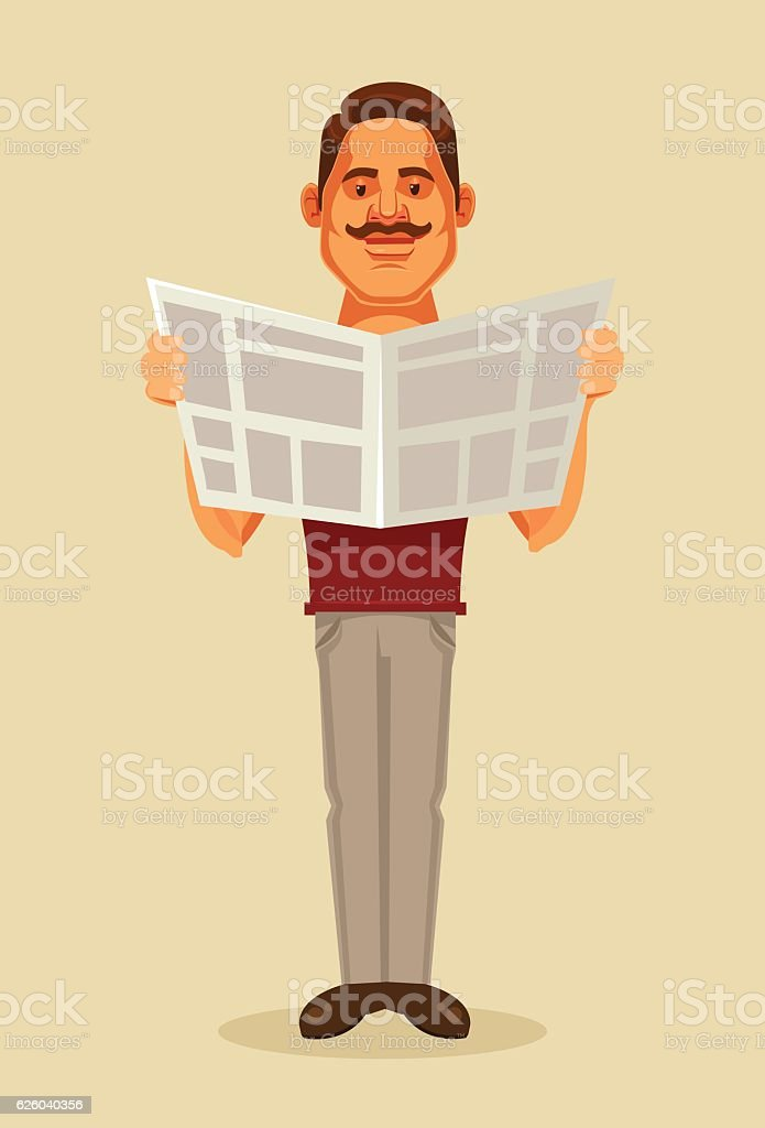 Man character reading newspaper. Vector flat cartoon illustration vector art illustration