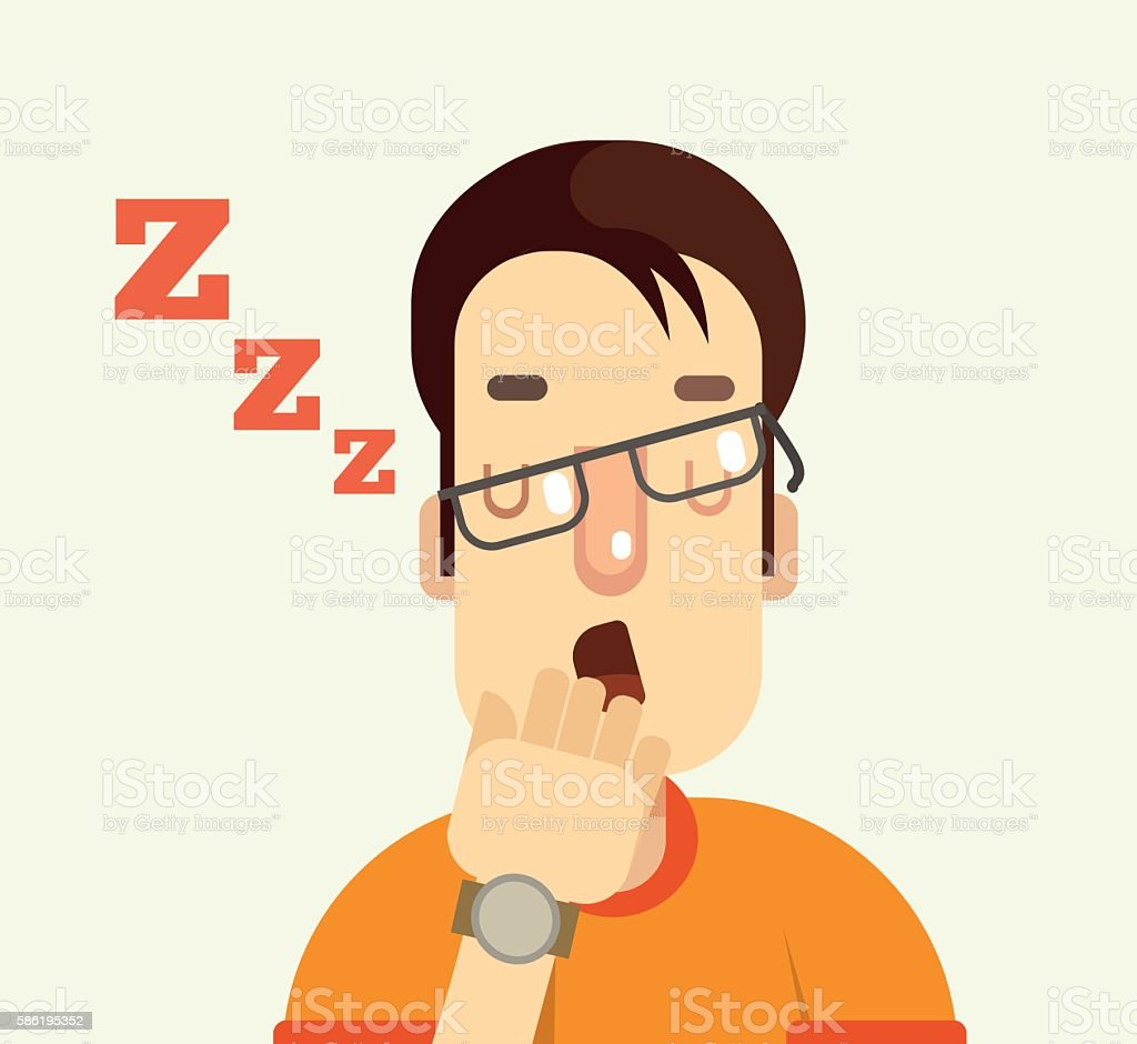 Man character yawning. Vector flat cartoon illustration vector art illustration