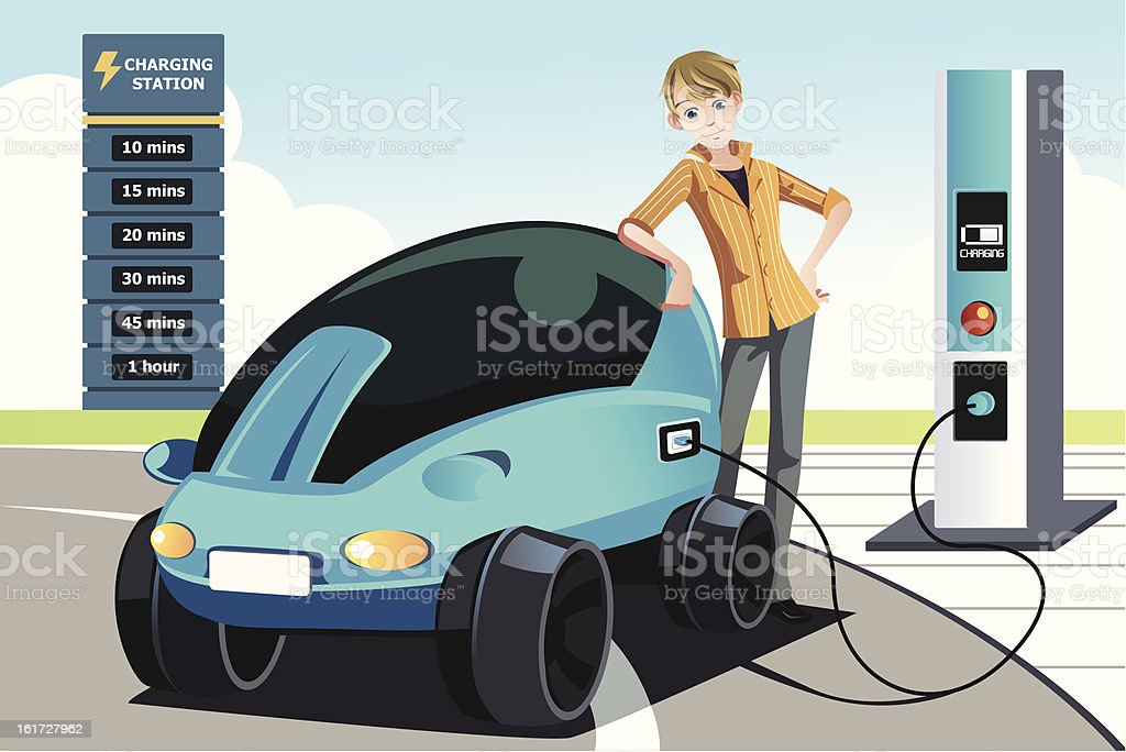Man charging electric car vector art illustration