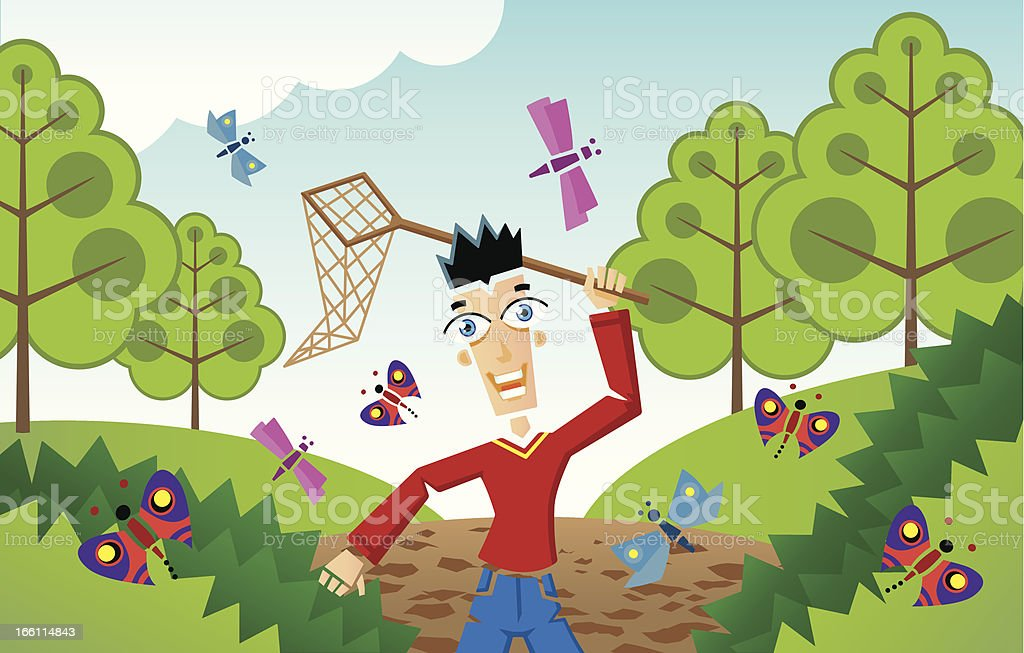 Man chasing butterflies and insects royalty-free stock vector art