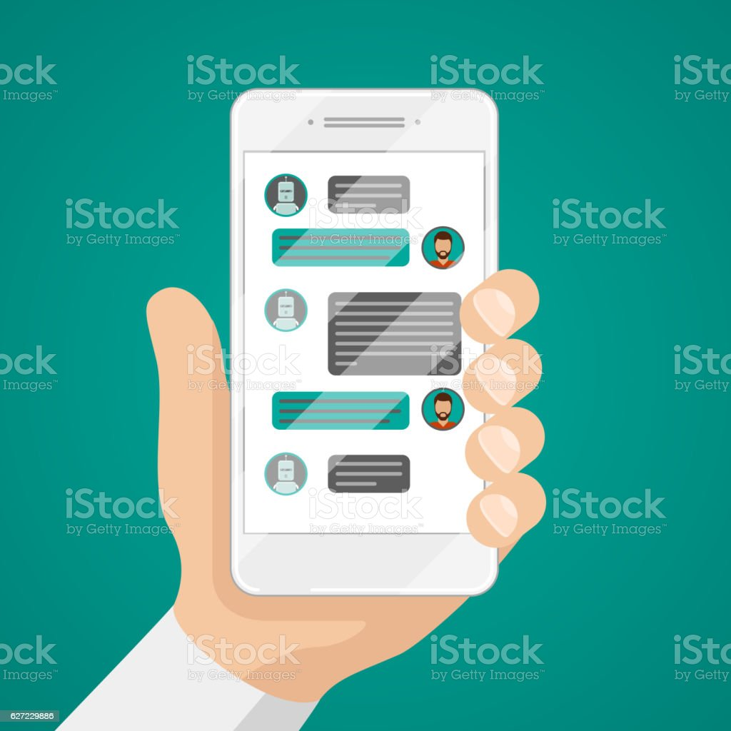 Man chatting with chat bot on smartphone vector illustration vector art illustration