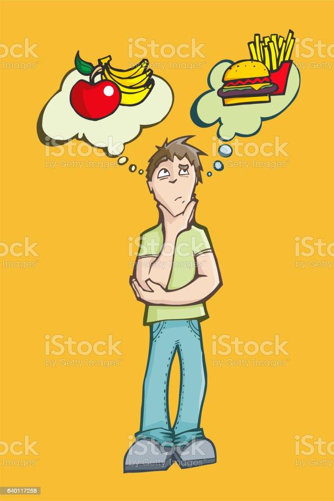 Man choosing between eating healthy or junk food. vector art illustration