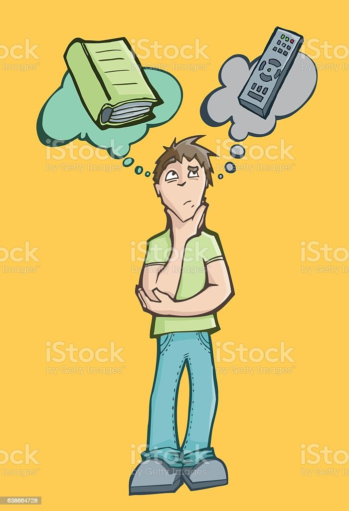 Man choosing between reading a book or watch television vector art illustration