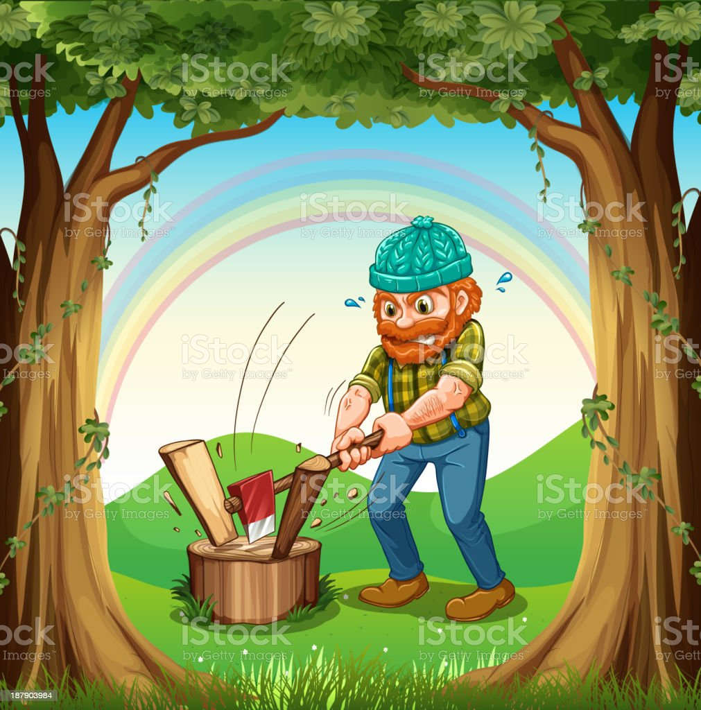 man chopping  woods near the trees royalty-free stock vector art