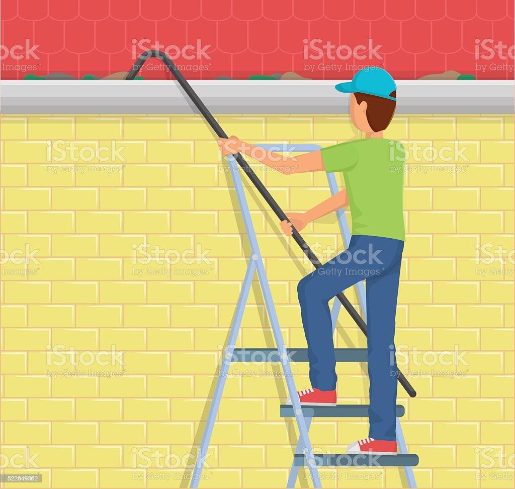 Man Cleaning rain gutter on a ladder vector art illustration