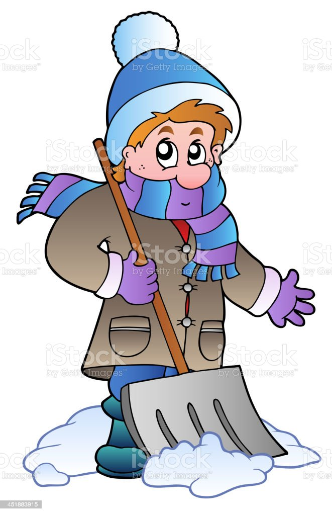 Man cleaning snow royalty-free stock vector art
