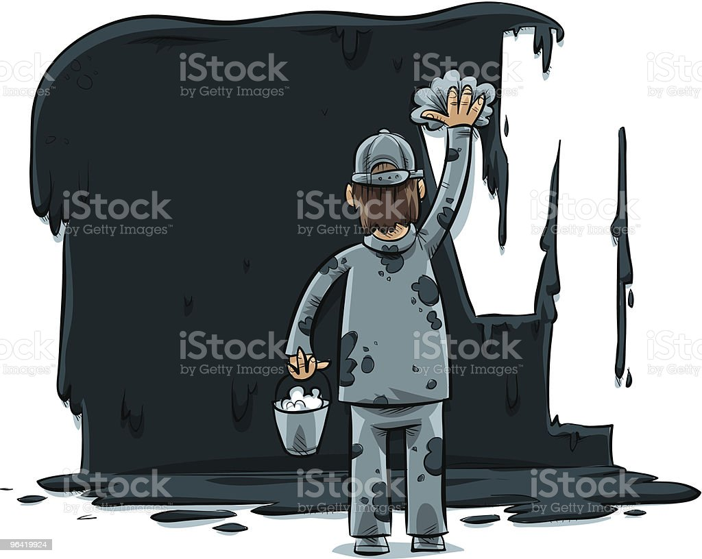 Man Cleaning vector art illustration