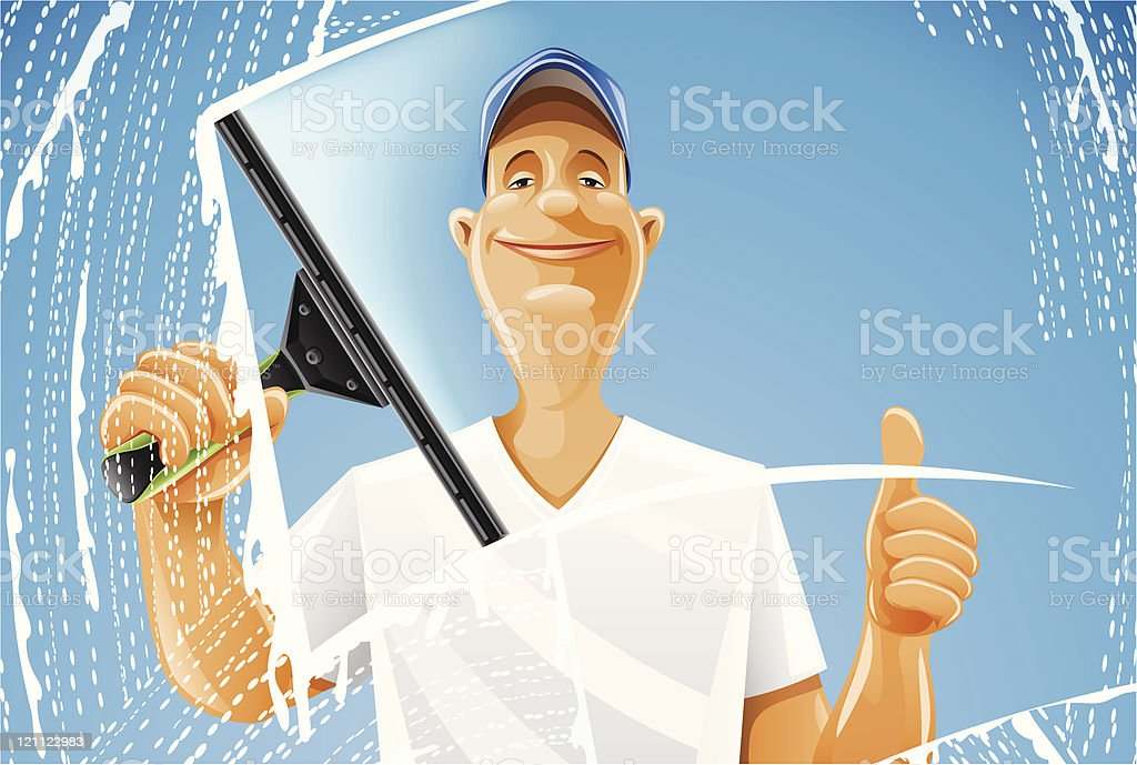 man cleaning window squeegee spray royalty-free stock vector art