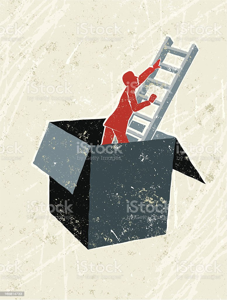 Man Climbing Ladder Out of a Box vector art illustration