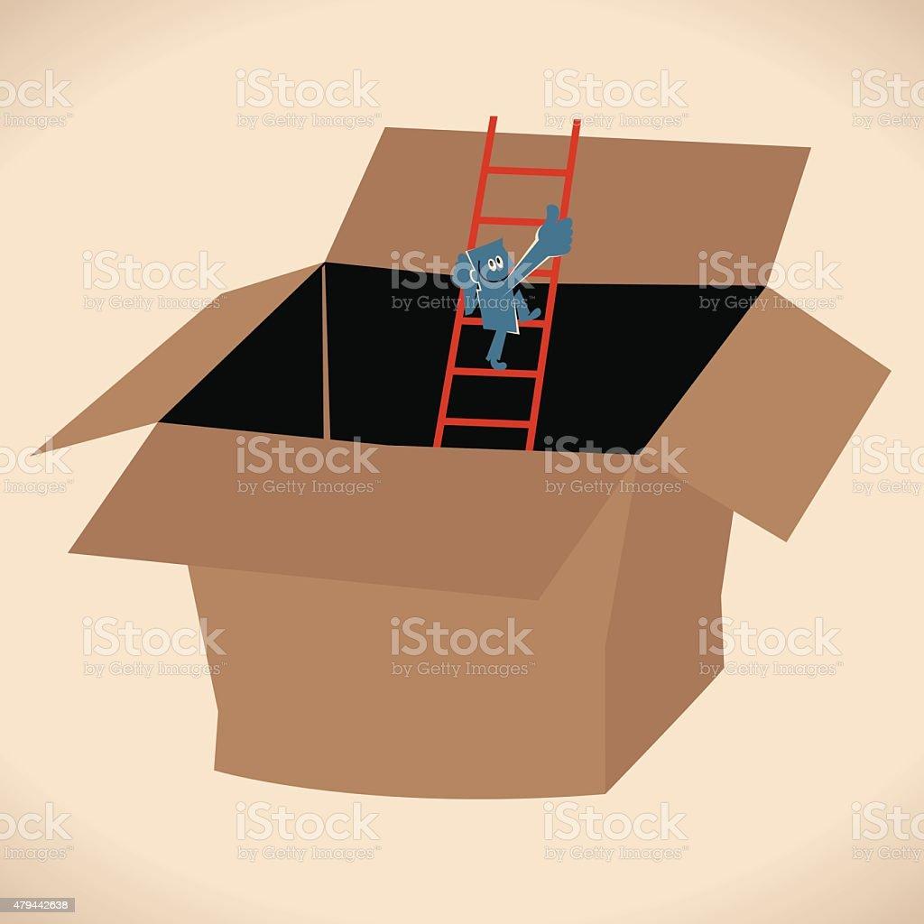 Man (businessman) Climbing Ladder Out of a Box vector art illustration