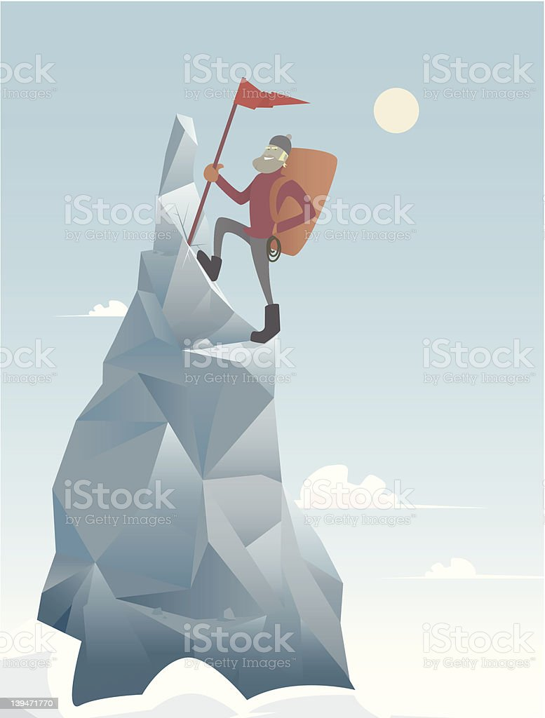 Man climbing to the top of the mountain with a red flag royalty-free stock vector art