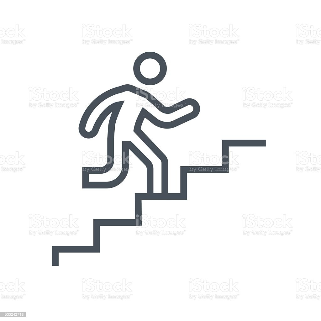 Man climbing up stairs icon vector art illustration