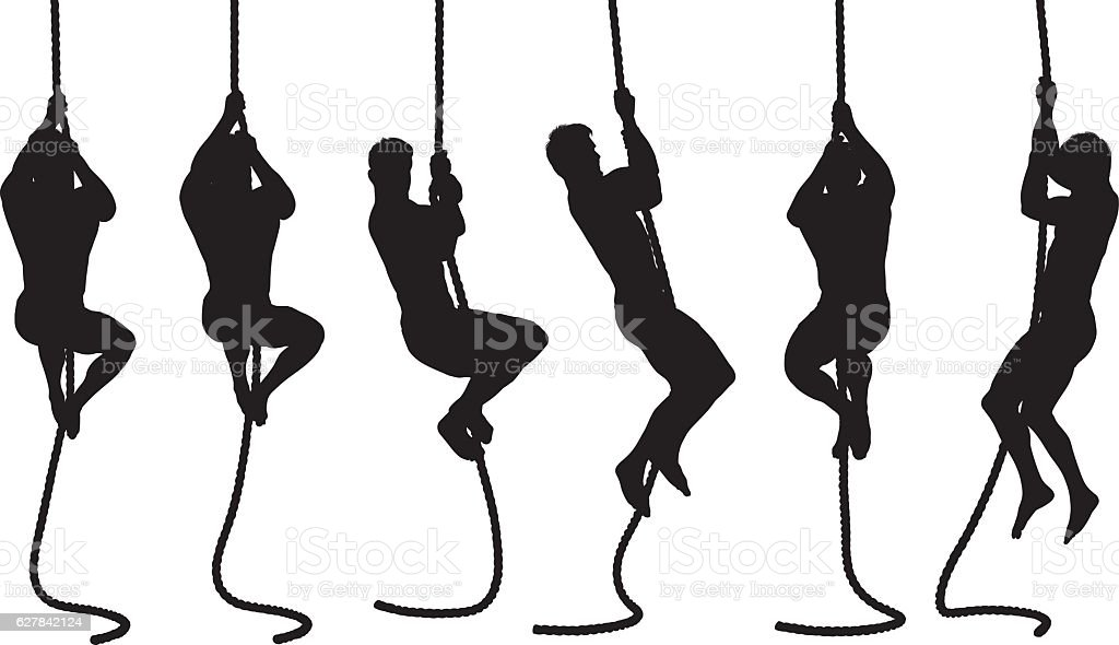 Man climbing up with rope vector art illustration