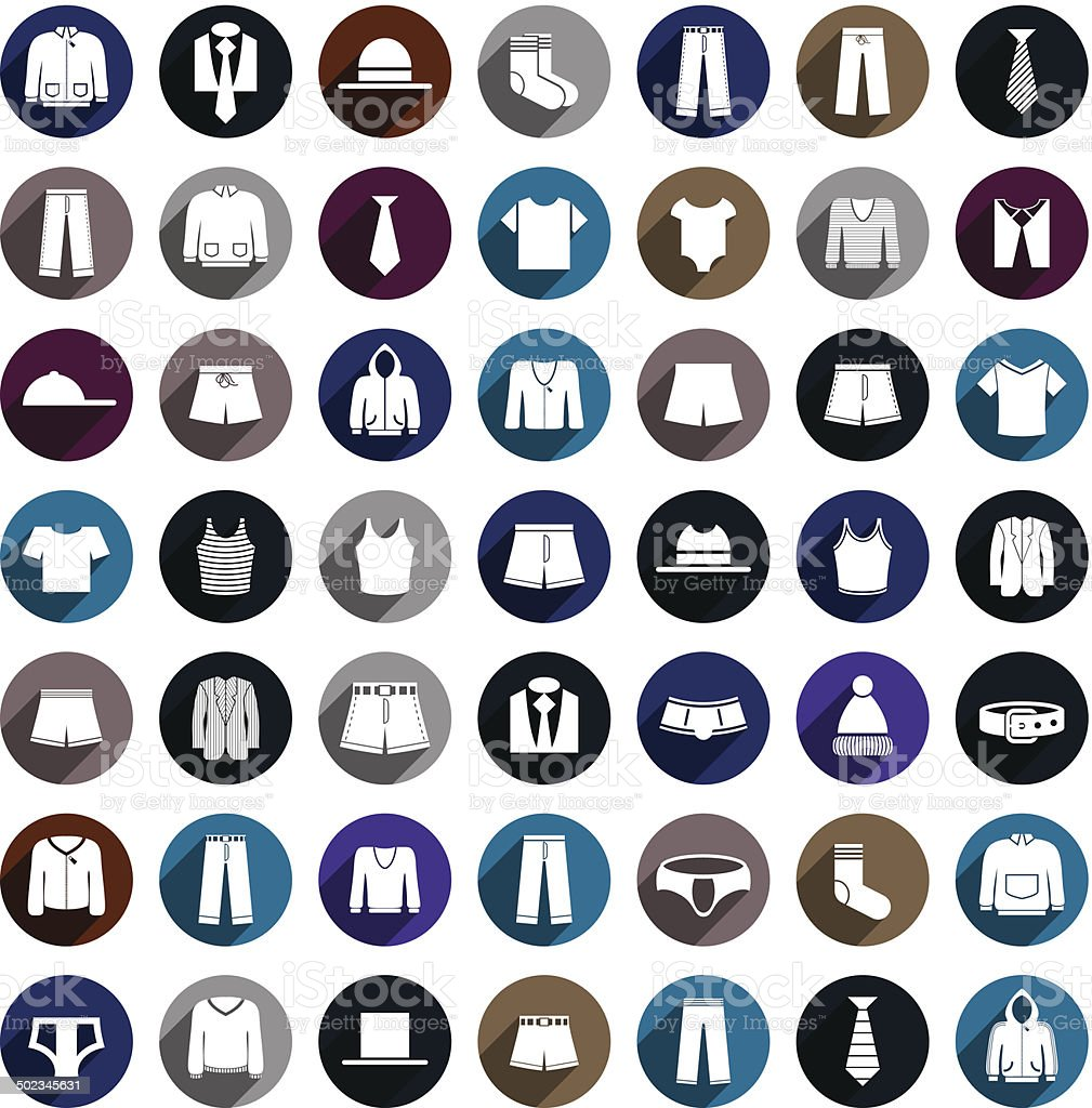 Man clothes vector icon set. vector art illustration