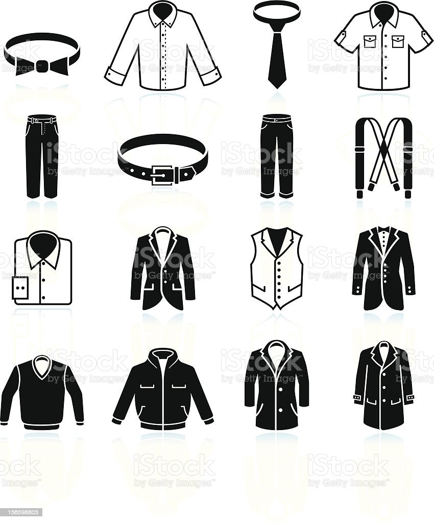 man Clothing and Menswear black & white vector icon set vector art illustration