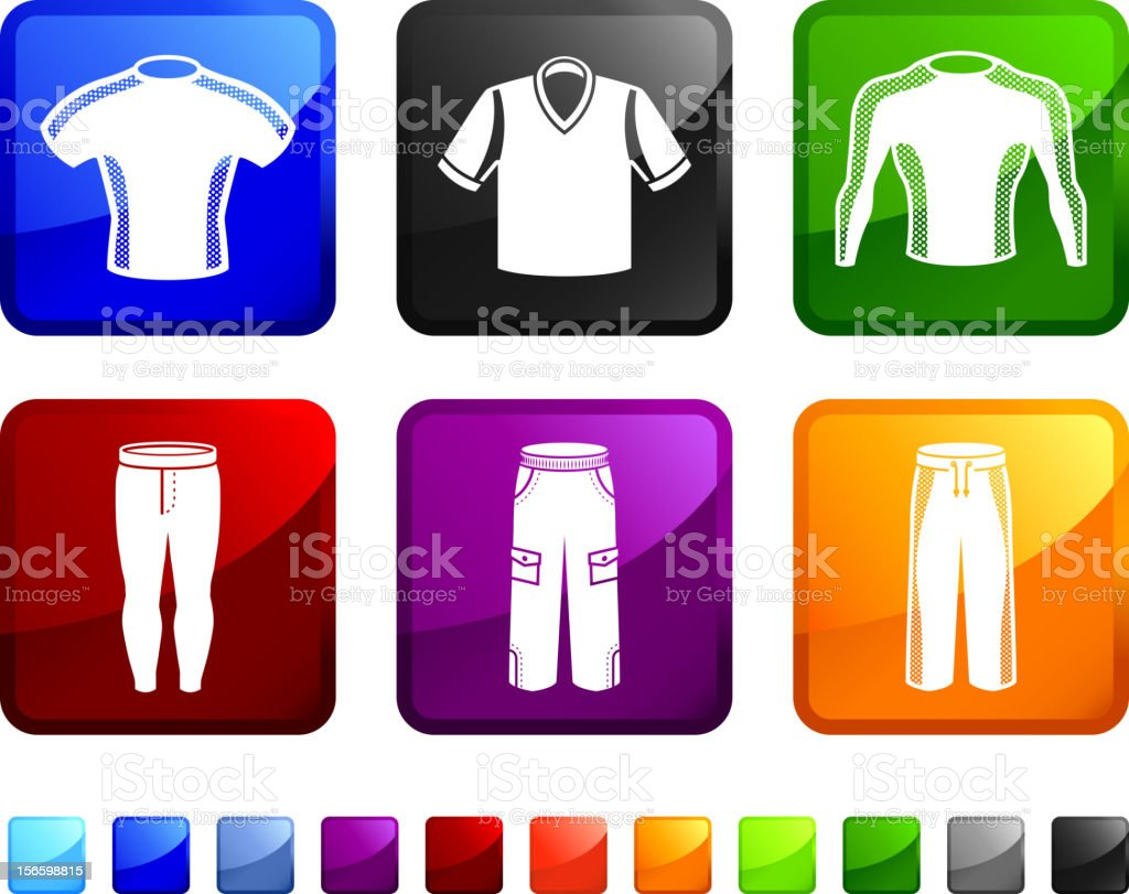 man Clothing and Sportswear Training Gear vector icon set stickers vector art illustration