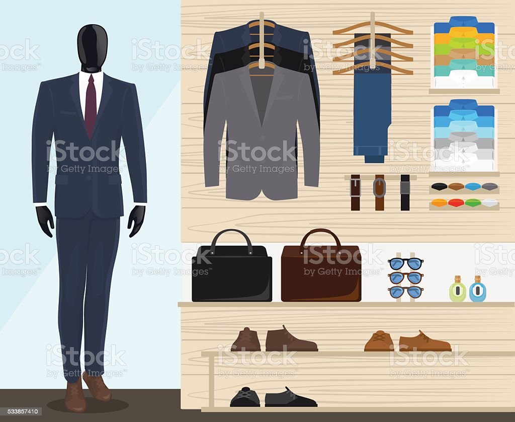 Man clothing store vector art illustration