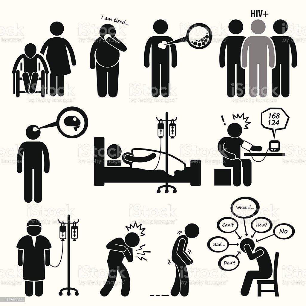 Man Common Diseases and Illness Cliparts vector art illustration