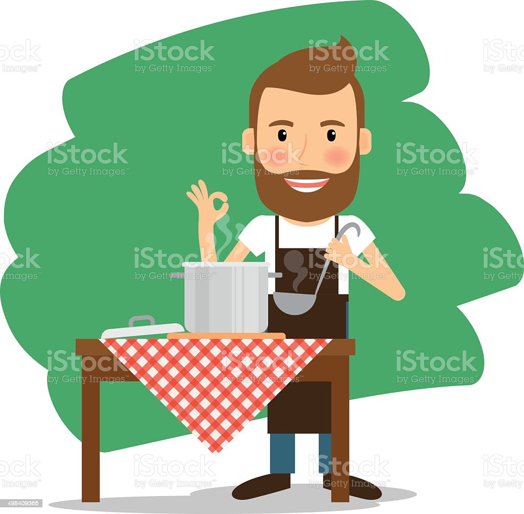 Man cooking at home vector art illustration