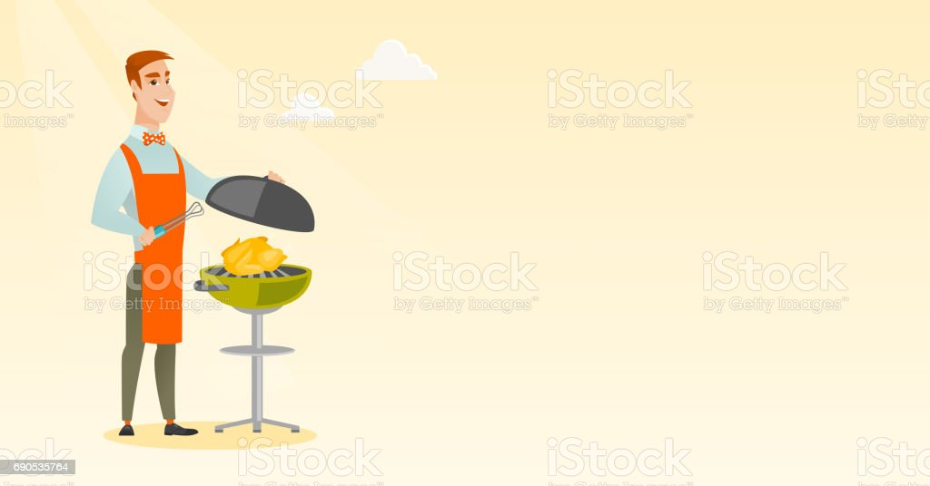 Man cooking chicken on barbecue grill vector art illustration