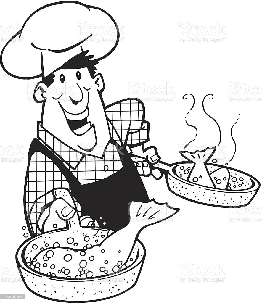 Man Cooking Fish royalty-free stock vector art