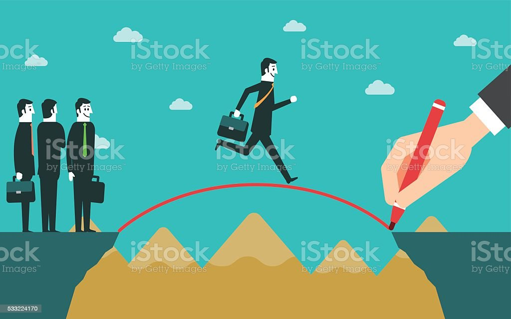 Man crossing the cliffs with a pencil drawing the bridge vector art illustration