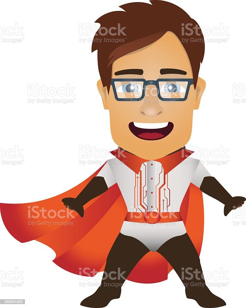 Man cryptography symbol. Information protection. Protector. Superhero. vector art illustration