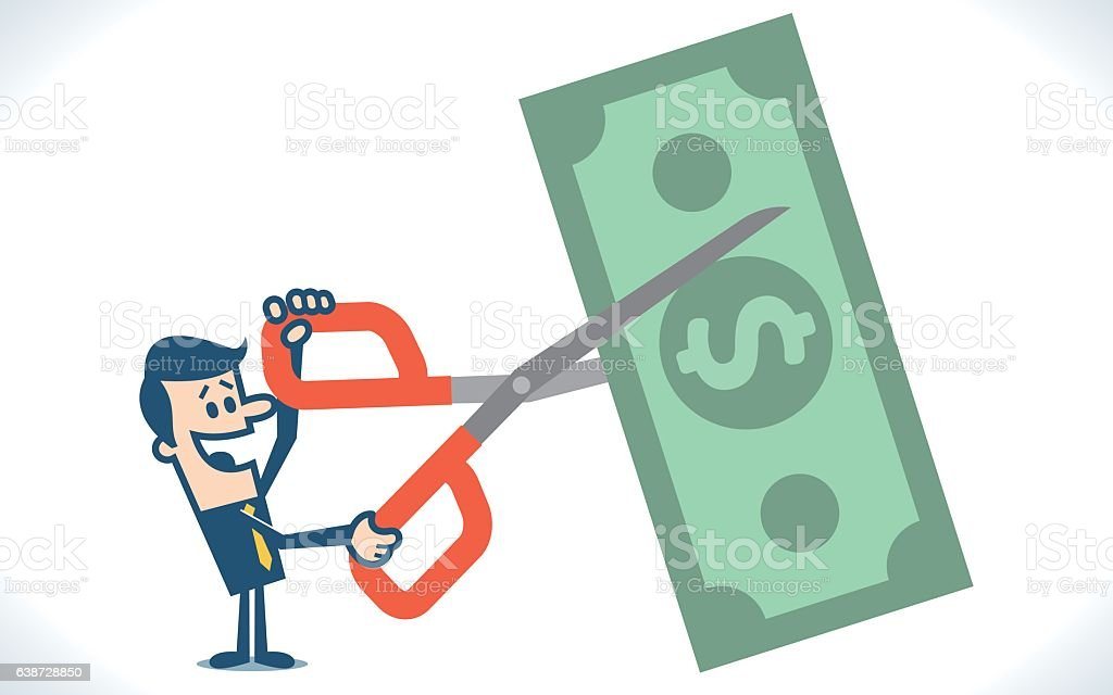 Man cutting a money vector art illustration