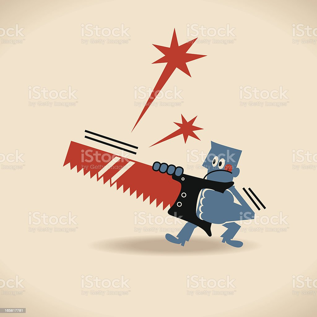 Man cutting something with handsaw royalty-free stock vector art