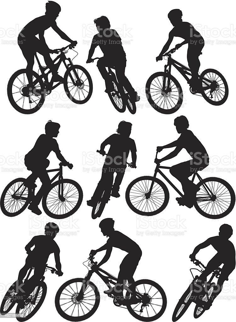 Man cycling vector art illustration