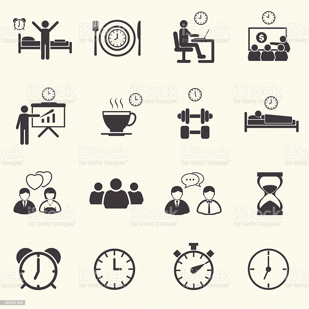 Man Daily Routine People icons vector art illustration