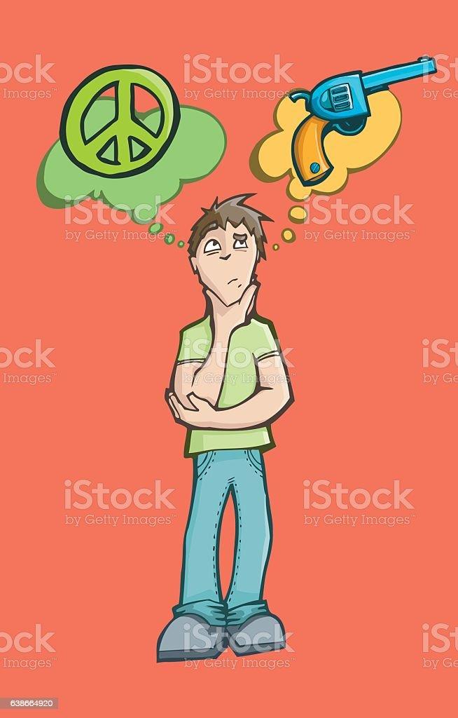 Man deciding between peace or war vector art illustration