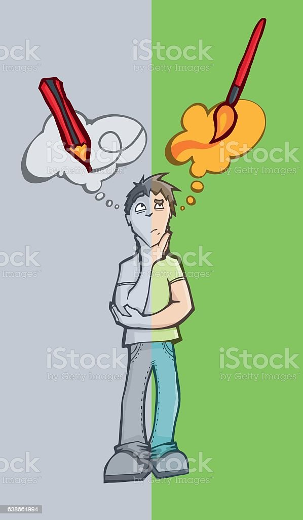 Man deciding between using a pencil or a brush. vector art illustration