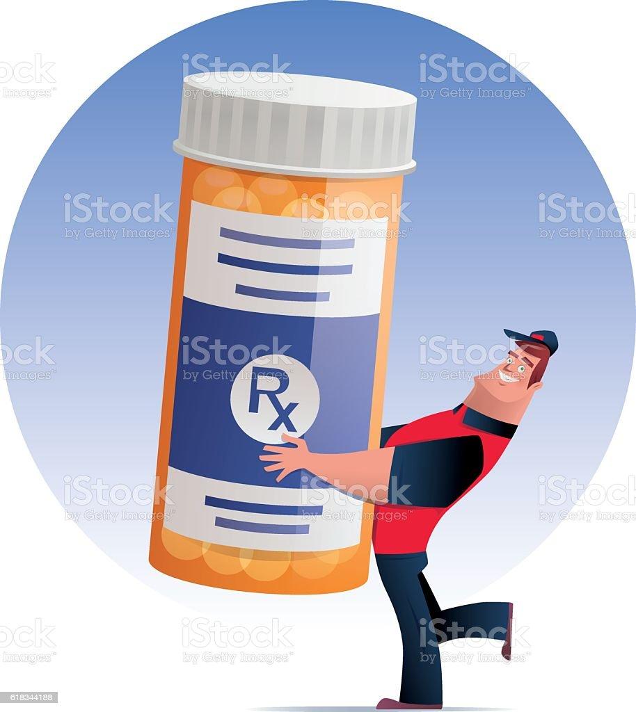 man delivering pill bottle vector art illustration