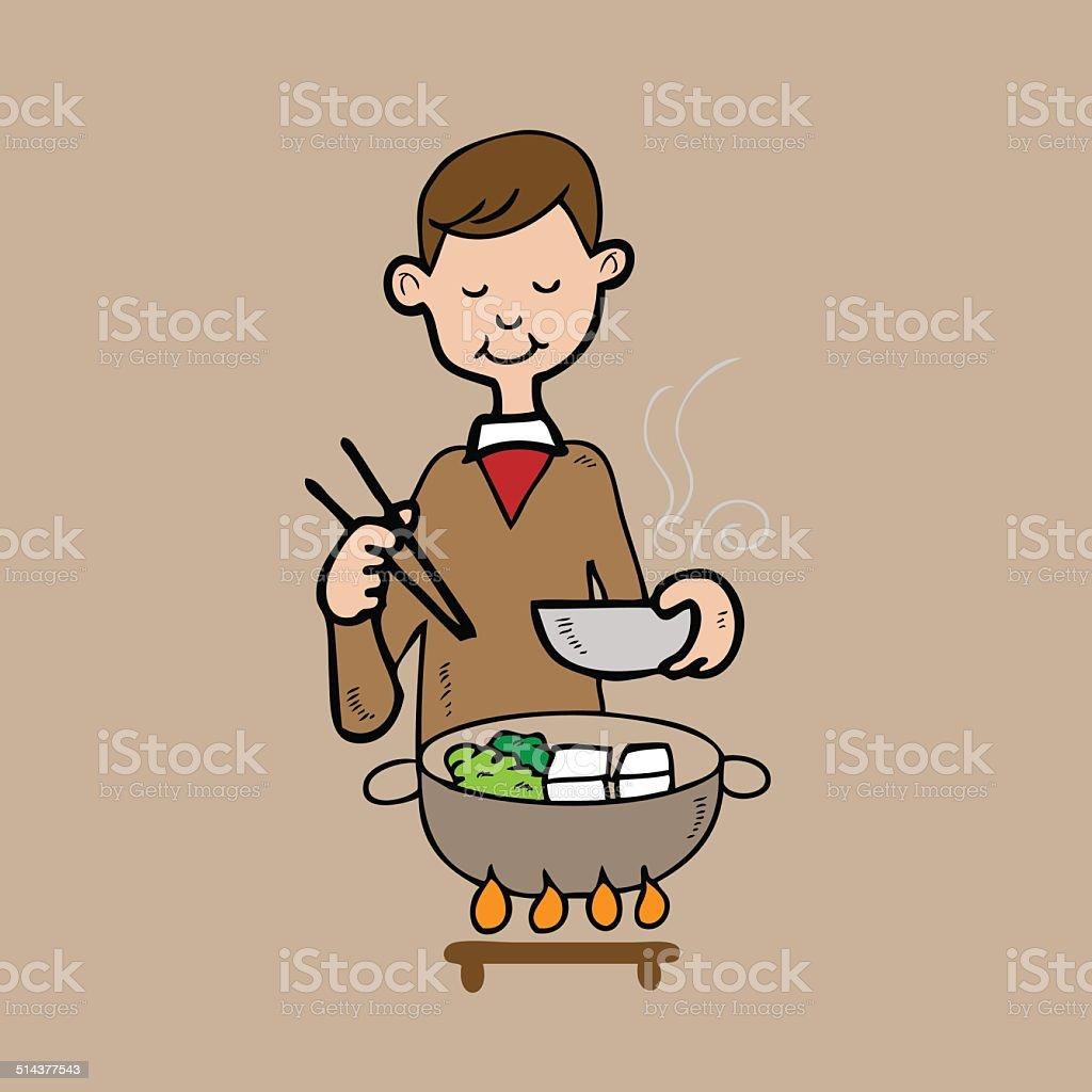 Man dinner in Japanese Shabu style vector art illustration