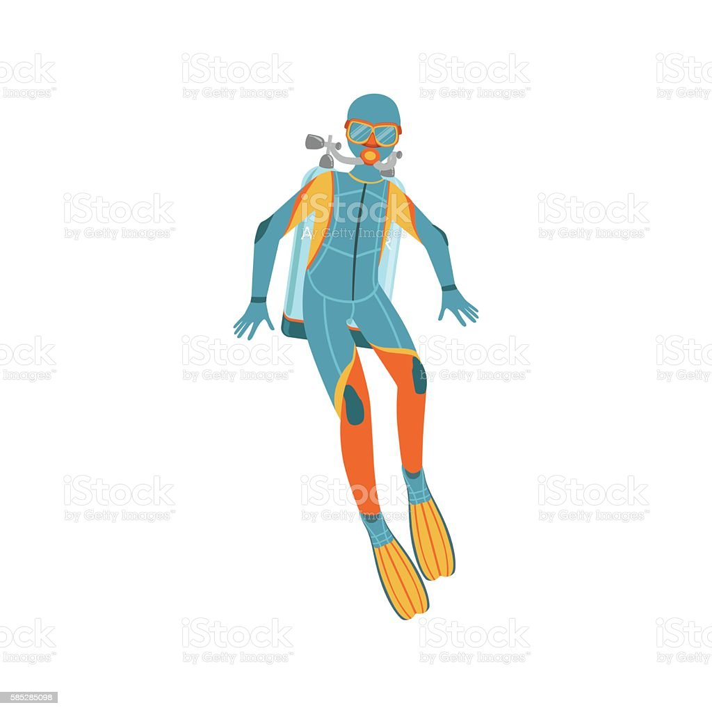 Man Diving In Full Suit With Hood, Rebreather And Twin vector art illustration