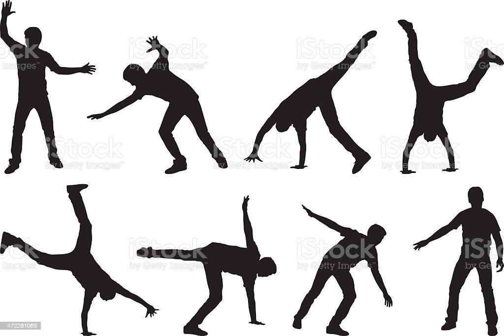 Man doing a cartwheel multiple image royalty-free stock vector art