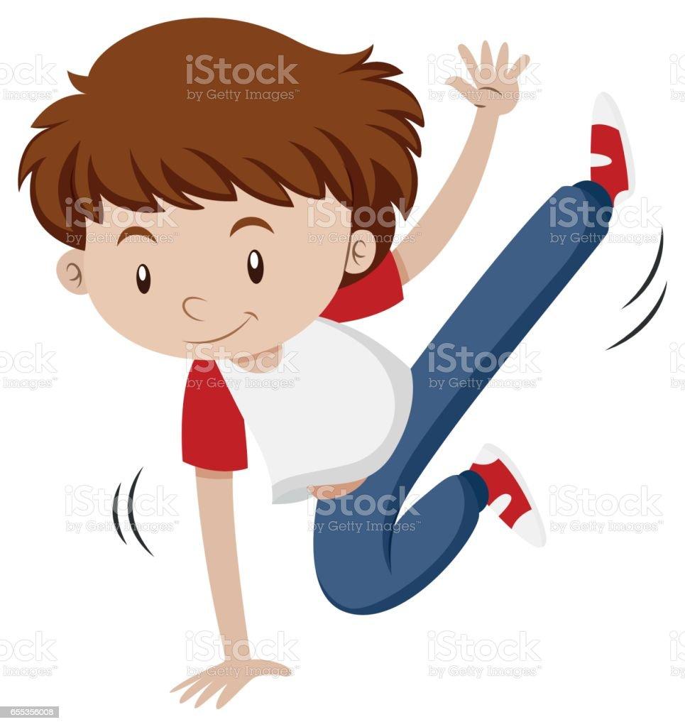 Man doing breakdance on one hand vector art illustration