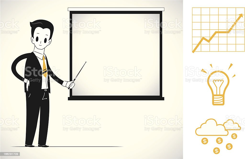 Man doing business presentation royalty-free stock vector art