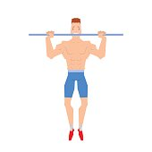 Man doing physical exercises pulling. Hanging on the bar vector.