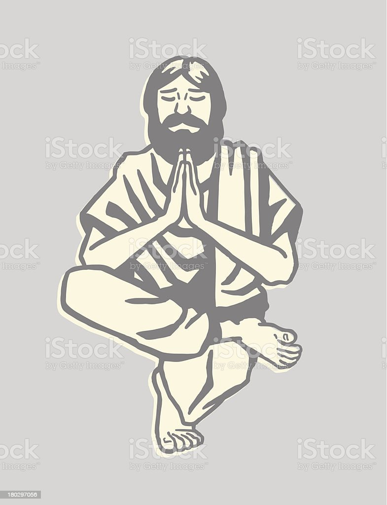Man Doing Yoga royalty-free stock vector art
