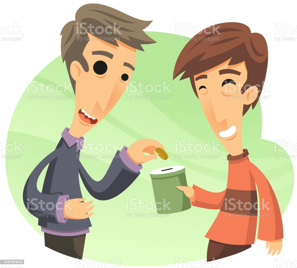 man donating for a cause vector art illustration