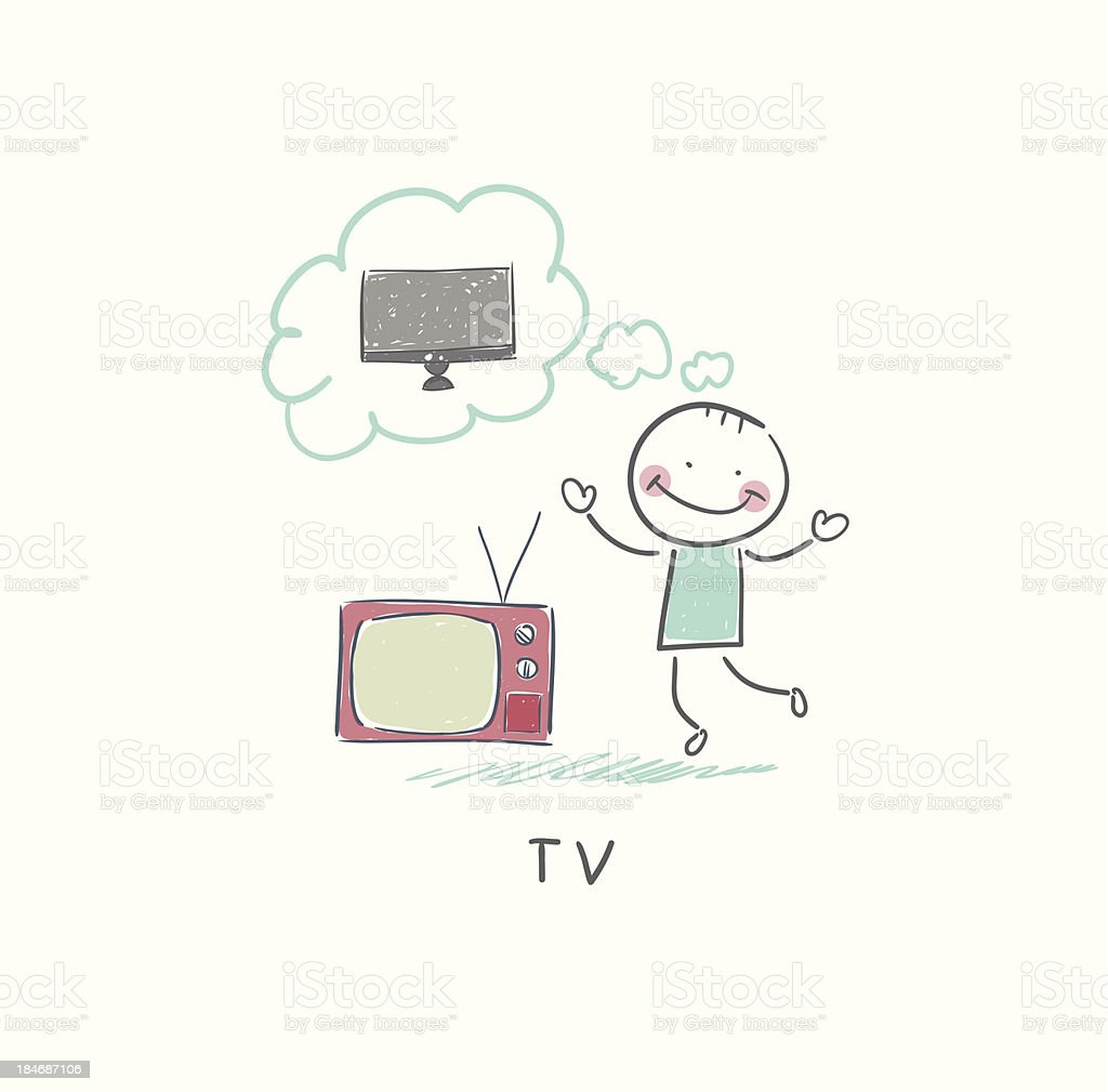 Man dreams of a new TV royalty-free stock vector art