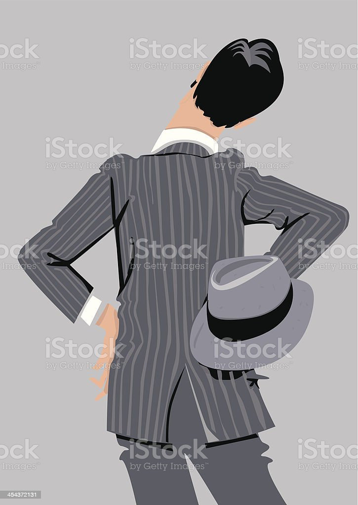 Man dressed 20's style back watching intently. vector art illustration