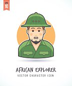 Man dressed as African of Australian explorer illustration