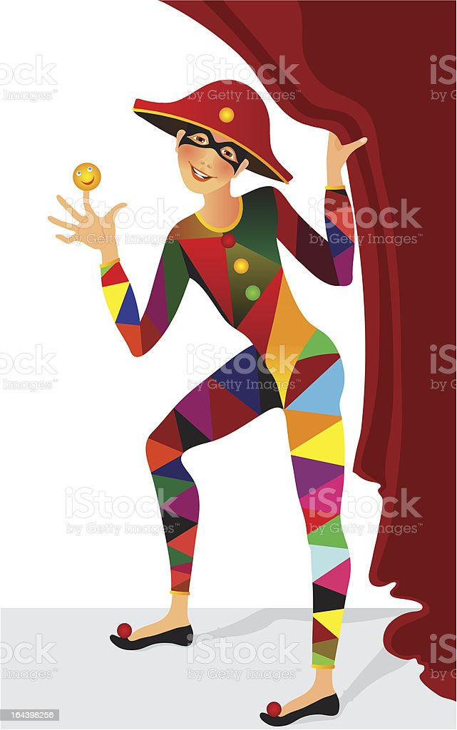 man dressed  Harlequin vector art illustration