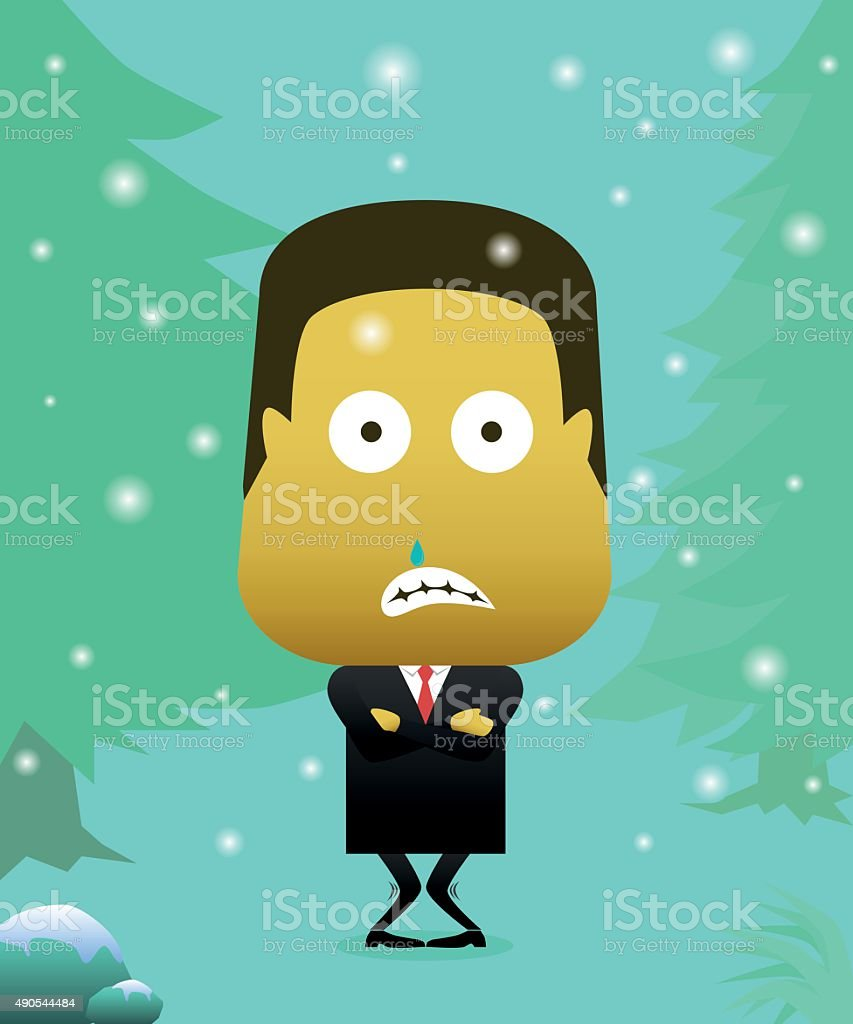Man dressed in a suit in the middle of winter vector art illustration