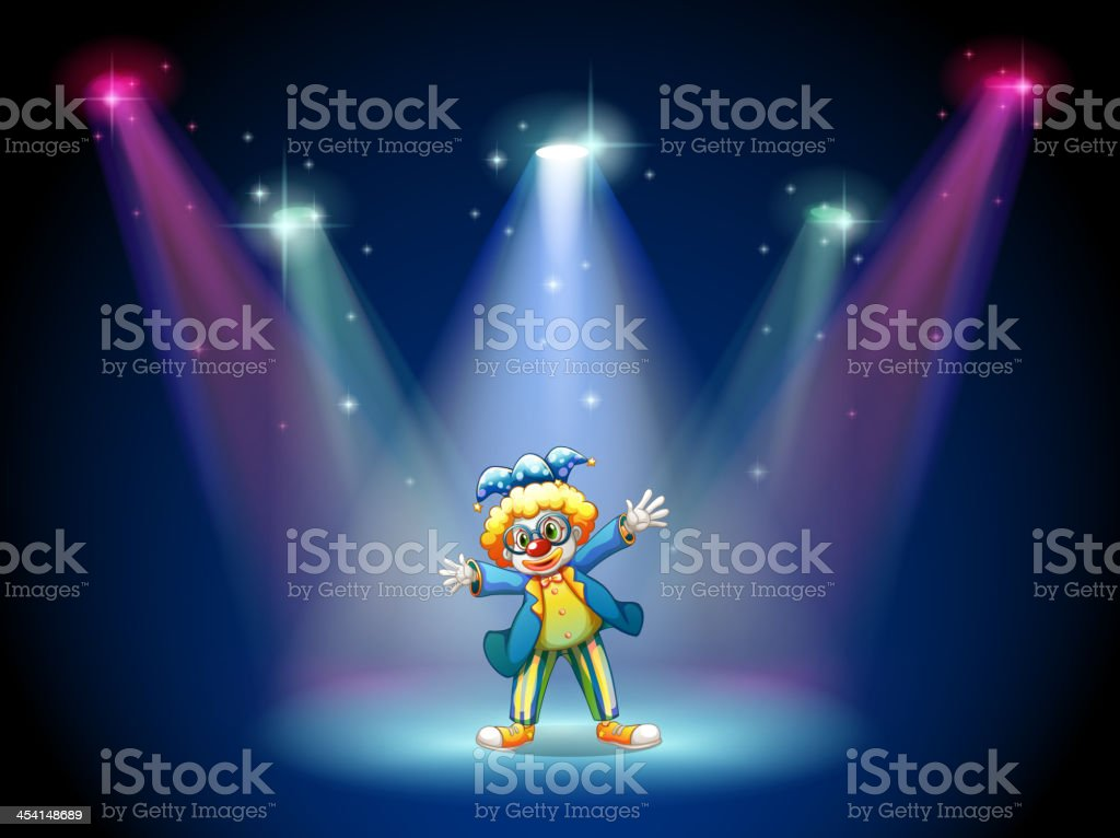 Man dressing up as a clown at the stage royalty-free stock vector art